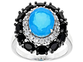 Pre-Owned Blue Ethiopian Opal Rhodium Over Silver Ring 3.80ctw
