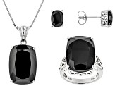 Pre-Owned Black Spinel Sterling Silver Ring Pendant With Chain And Earrings Set 44.39ctw