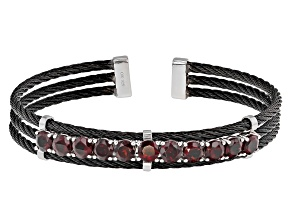Pre-Owned Red Garnet Sterling Silver Cuff Bracelet 5.95ctw