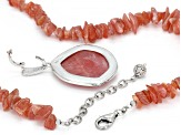 Pre-Owned Pink Rhodochrosite Rhodium Over Silver Necklace And Enhancer