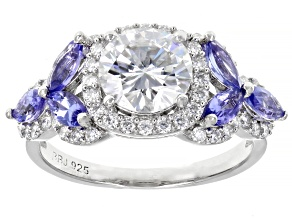 Pre-Owned Moissanite And Tanzanite Platineve Ring 2.02ctw DEW.