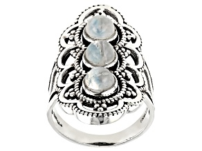 Pre-Owned Rainbow Moonstone Sterling Silver 3-Stone Ring 1.70ctw