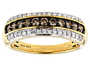 Pre-Owned Engild™ Champagne And White Diamond 14k Yellow Gold Over Sterling Silver Ring 0.65ctw