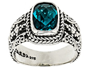 Pre-Owned Paraiba Color Quartz Triplet Silver Ring