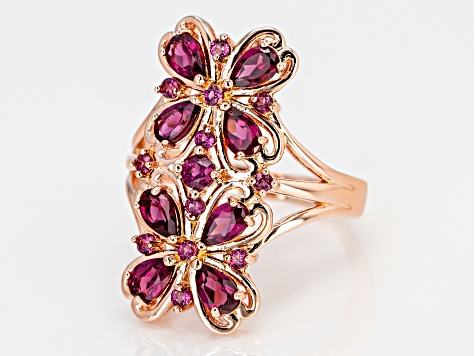 Pre-Owned Raspberry color rhodolite 18k rose gold over silver ring 2.21ctw