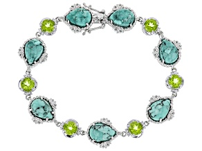 Pre-Owned Blue Kingman Turquoise Rhodium Over Silver Line Bracelet