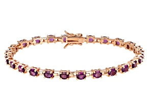 Pre-Owned Rasberry color rhodolite 18k rose gold over silver bracelet 8.36ctw