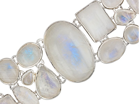 Pre-Owned Rainbow Moonstone Sterling Silver Bracelet