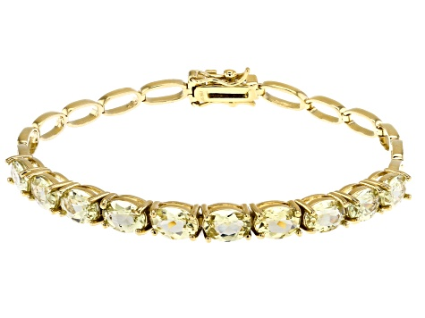 Pre-Owned Yellow apatite 18k yellow gold over silver bracelet 6.97ctw