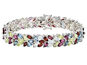 Pre-Owned Multi-color gemstone rhodium over silver bracelet 28.09ctw