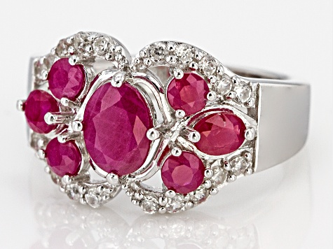 Pre-Owned Red Ruby Rhodium Over Silver Ring 1.94ctw