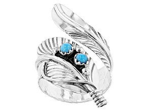 Pre-Owned Turquoise  Sleeping Beauty Silver Feather Bypass Ring