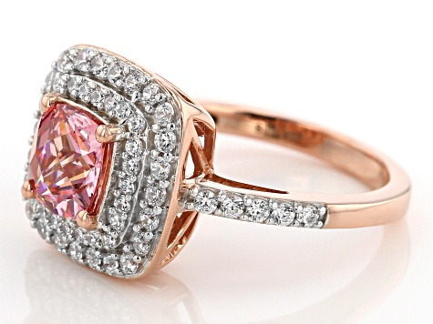Pre-Owned Swarovski ® Fancy Pink & White Zirconia 18K Rose Gold Over Sterling Silver Ring 4.00ctw