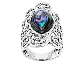 Pre-Owned Multicolor Abalone Shell Sterling Silver Ring