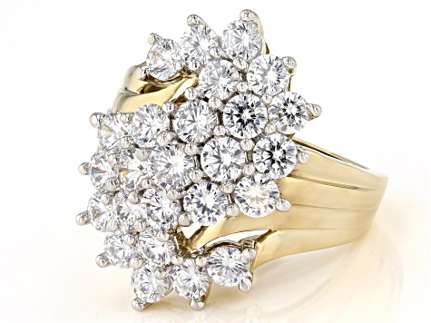 Pre-Owned White Cubic Zirconia 18k Yellow Gold Over Sterling Silver Ring 6.95ctw