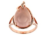 Pre-Owned Pink rose quartz 18k gold over silver ring .05ctw