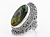 Pre-Owned Multicolor Ammolite Doublet Silver Ring