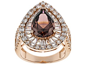 Pre-Owned Blush & White Cubic Zirconia 18K Rose Gold Over Sterling Silver Center Design Ring 12.20ct
