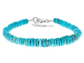 Pre-Owned Sleeping Beauty Turquoise Heshi Bead Silver Bracelet