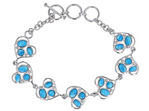 Pre-Owned Blue turquoise rhodium over sterling silver toggle bracelet