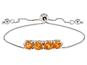 Pre-Owned Orange Spessartite Sterling Silver Bolo Bracelet 2.04ctw
