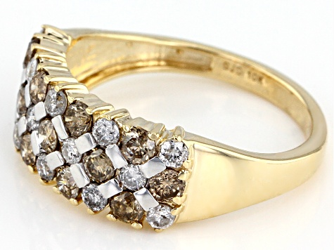 Pre-Owned Champagne And White Diamond 10k Yellow Gold Ring 1.25ctw
