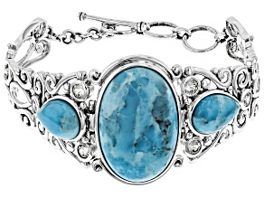 Pre-Owned Blue turquoise rhodium over sterling silver toggle bracelet 2.55ctw