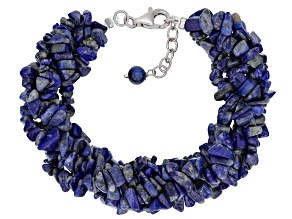 Pre-Owned Blue Lapis Lazuli Rhodium Over Sterling Silver Bracelet
