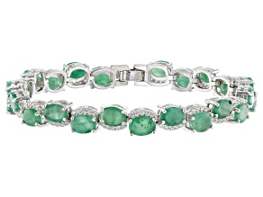 Pre-Owned Green Emerald And White Zircon Sterling Silver Bracelet 20.50ctw