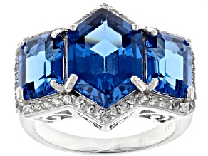 Pre-Owned Blue lab created spinel rhodium over silver ring 7.24ctw