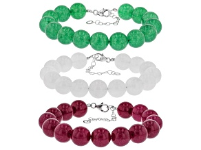 Pre-Owned Green, White, and Red Onyx Rhodium Over Silver 3 Bracelet Set