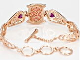 Pre-Owned Pink Peruvian Opal 18k Rose Gold Over Silver Bracelet 1.58ctw