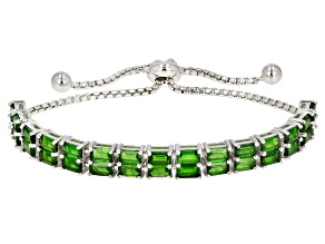 Pre-Owned Green Chrome Diopside Sterling Silver Bolo Bracelet 7.11ctw