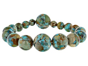 Pre-Owned Turquoise Bead Stretch Bracelet