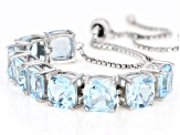 Pre-Owned Blue topaz rhodium over silver bracelet 18.00ctw