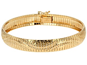 Pre-Owned 18k Yellow Gold Over Silver Diamond Cut Wave Pattern Omega Bracelet 7.5 inch