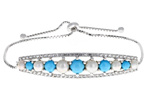 Pre-Owned Blue turquoise rhodium over silver bracelet .99ctw