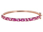 Pre-Owned Pink Lab Created Pink Sapphire 18k Rose Gold Over Silver Bracelet 6.32ctw