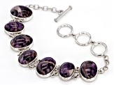 Pre-Owned Purple Chevron Amethyst Rhodium Over Sterling Silver Bracelet