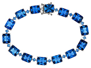 Pre-Owned Blue Lab Spinel Sterling Silver Bracelet 42.01ctw