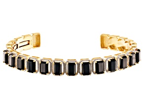 Pre-Owned Black spinel 18k gold over silver cuff bracelet 9.69ctw
