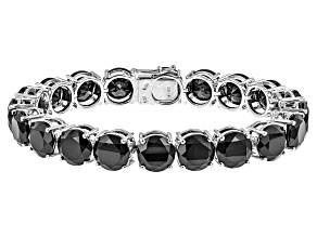 Pre-Owned Black Spinel Sterling Silver Bracelet 99.20ctw