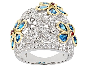 Pre-Owned Blue, Red, And White Cubic Zirconia 18K Yellow Gold And Rhodium Over Sterling Silver Ring