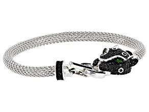 Pre-Owned Black spinel rhodium over silver bracelet 1.66ctw