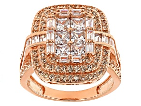Pre-Owned Brown And White Cubic Zirconia 18k Rose Gold Over Sterling Silver Ring 3.50ctw
