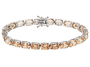 Pre-Owned Brown Cubic Zirconia Rhodium Over Sterling Silver Bracelet 41.00ctw