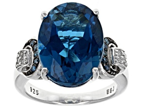 Pre-Owned London Blue Topaz Rhodium Over Sterling Silver Ring 10.29ctw