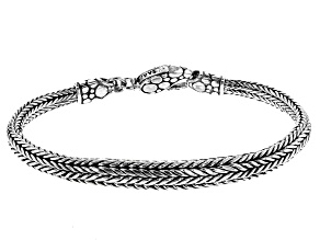 Pre-Owned Sterling Silver Bali Snake Chain Bracelet