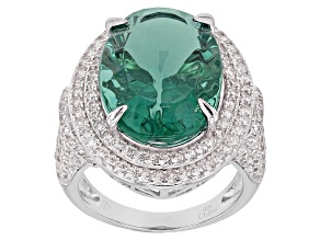 Pre-Owned Teal Fluorite Sterling Silver Ring 18.00ctw