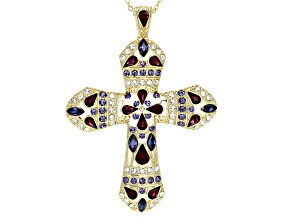 Pre-Owned  Multi-color Crystal Gold Tone Cross Pendant With Station Chain